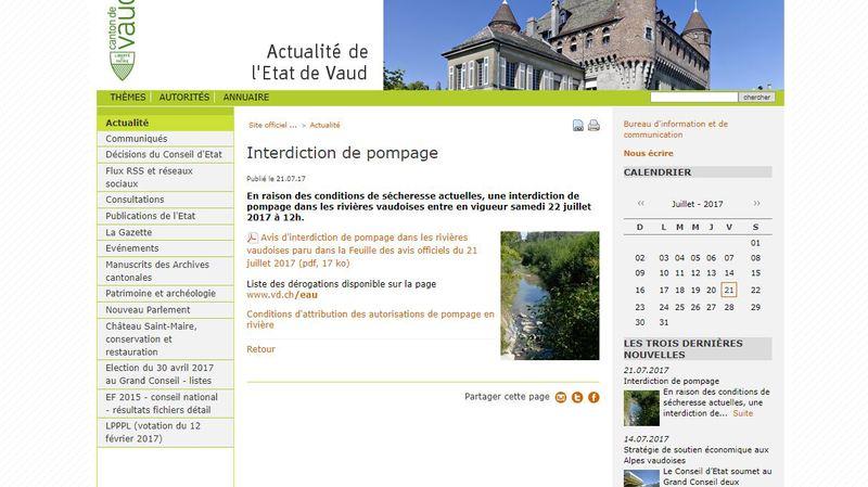 Sécheresse: pompage interdit dans de nombreux cours d'eau vaudois, fribourgeois, jurassiens et bâlois