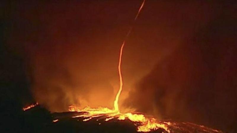 Phénomène extrêmement rare, une tornade de feu a été filmée au Portugal
