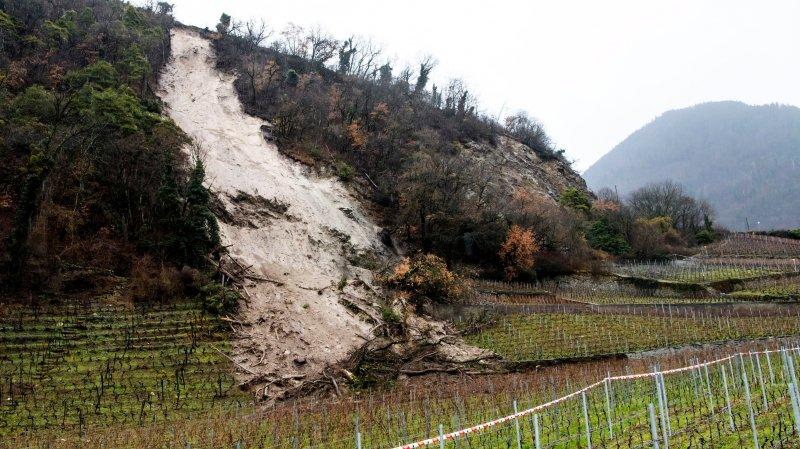 Un glissement de terrain s'est produit lundi dans les vignes  à Ollon, à la suite des fortes précipitations.