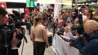 JO 2018: Arrivée de Beat Feuz et Martin Rios à l'aéroport de Zurich