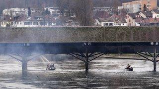 Pont historique d'Olten en feu: gros dégâts
