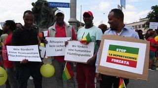 Manifestation contre la déportation forcée de réfugiés éthiopiens