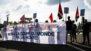 Manifestation à Lausanne contre la Coupe du Monde en Russie