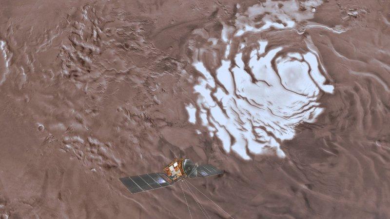 Situé sous une couche de glace martienne, le lac fait environ 20 km de large et laisse envisager la présence de davantage d'eau, voire de vie, sur la planète rouge.