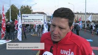 Genève: quelque 1800 maçons dans les rues pour une première journée de grève