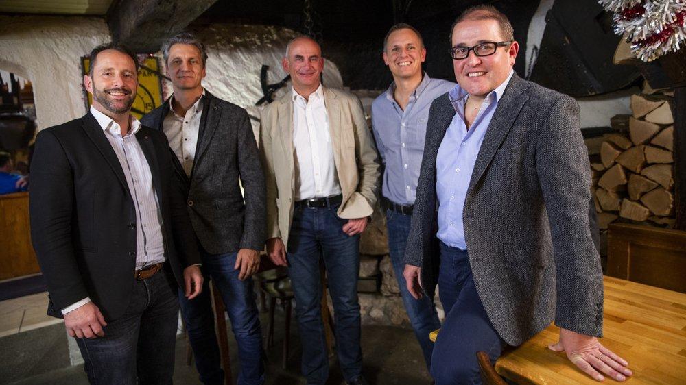 Hier, lors de la passation des pouvoirs, David Martini, Daniel Bonito, Nils Rentsch, Pascal Amaron (tous administrateurs de Perrin holding SA) et Stéphane Natalini.