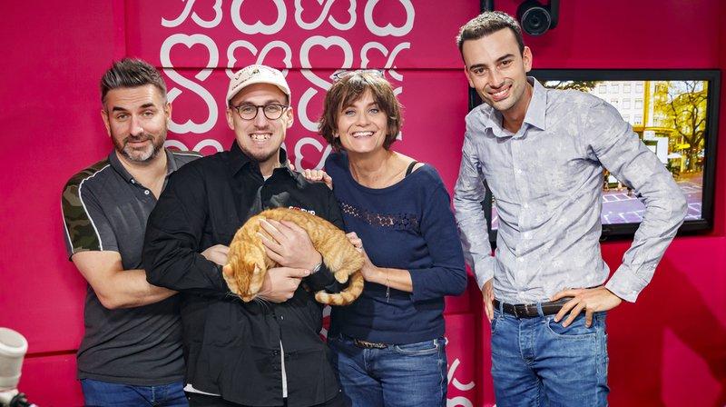 L'humoriste Yoann Provenzano et les animateurs de la RTS Philippe Martin, Tania Chytil et Jonas Schneiter œuvrent pour cette troisième édition de l'opération caritative.