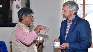 Un an avant sa marche pour un monde meilleur, P.V. Rajagopal en éclaireur à Nyon