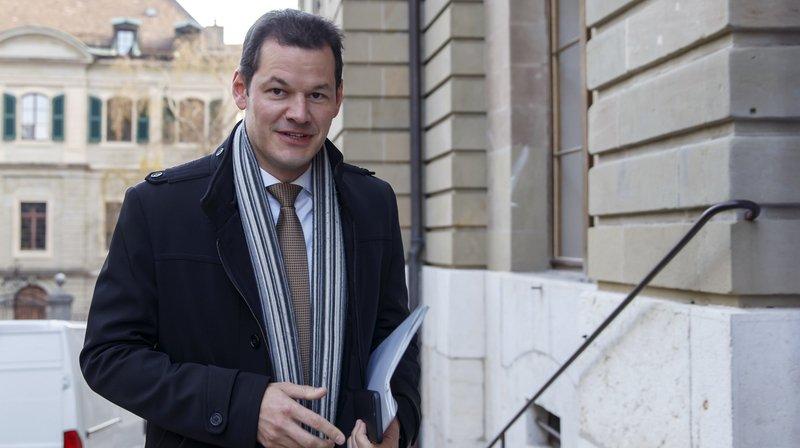 Le conseiller d'Etat Pierre Maudet à son arrivée au palais de justice.