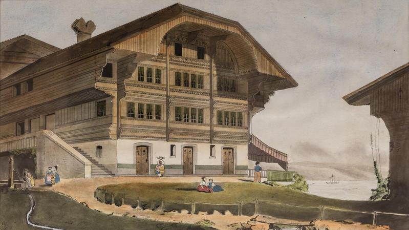 Cette aquarelle représente un chalet suisse au bord d'une étendue d'eau.