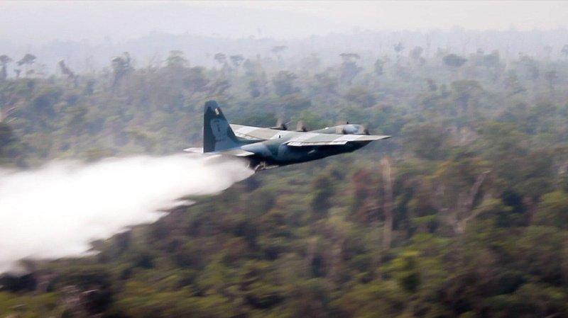 Deux avions C-130 Hercules de la Force aérienne brésilienne ont commencé à larguer des dizaines de milliers de litres d'eau au-dessus de la forêt tropicale.