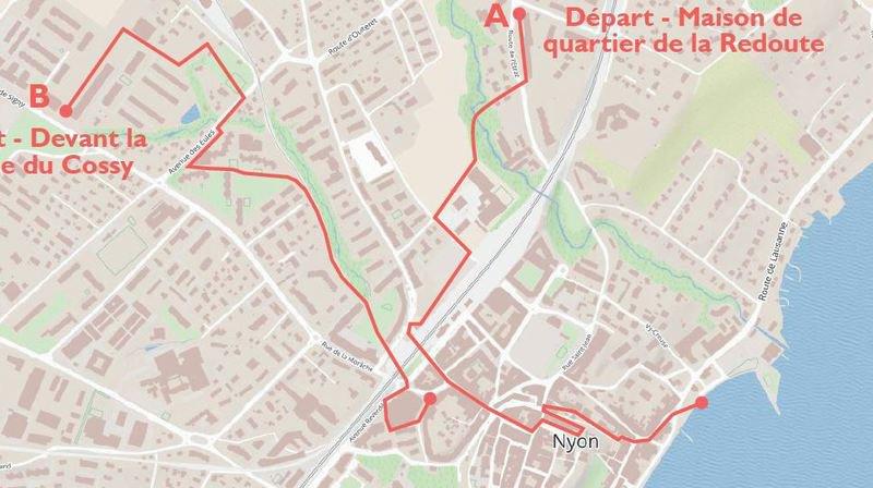 Les deux itinéraires proposés par la Ville de Nyon.