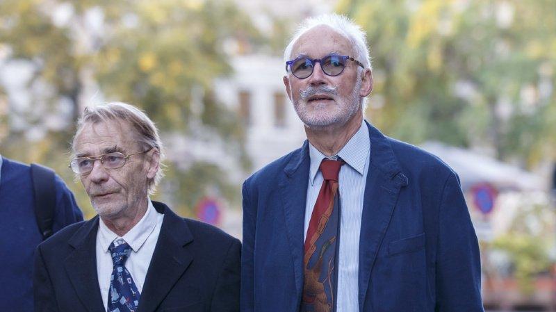 Pierre Beck en compagnie de son avocat Yves Grandjean, lors de son arrivée au tribunal.