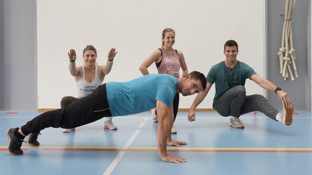 L'équipe de CrossFit All Elements: Alain Mottier (devant), Jessicy Falcy, Gillie Gordon et Tim Gordon.