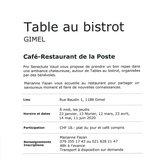 """Table au bistrot """"Café-Restaurant de la Poste"""""""
