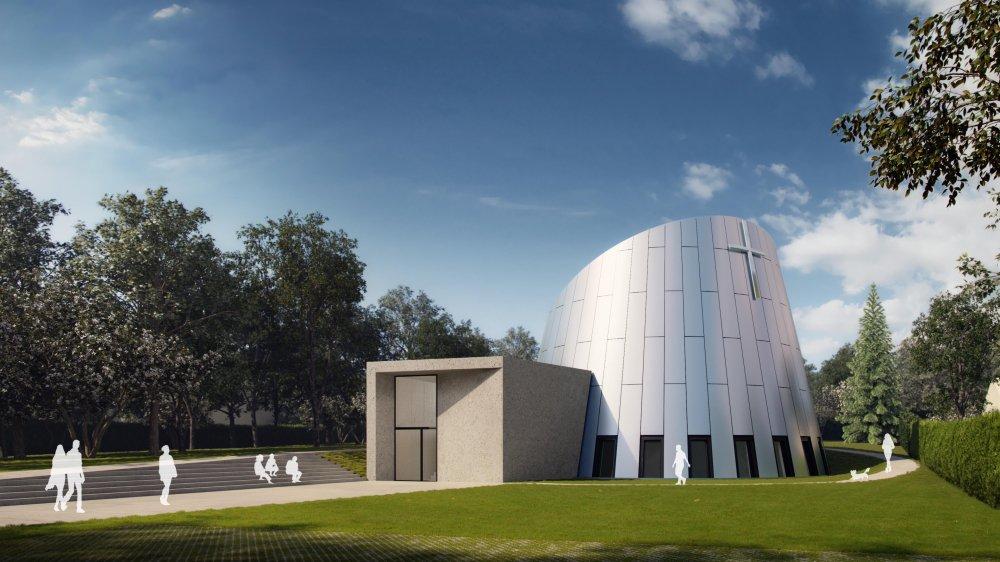 C'est le bureau Coretra qui s'est chargé des plans de l'église, à l'architecture contemporaine.