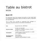 Table au bistrot - Quai 23