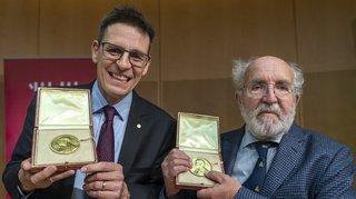 Les Nobel de physique Michel Mayor et Didier Queloz accueillis en triomphe à Genève